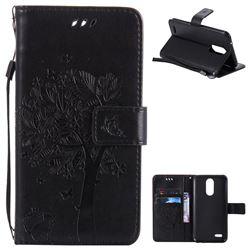 Embossing Butterfly Tree Leather Wallet Case for LG K10 2017 - Black