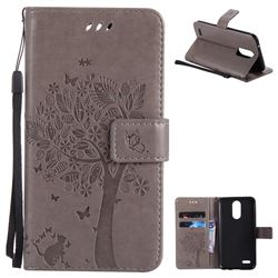 Embossing Butterfly Tree Leather Wallet Case for LG K10 2017 - Grey