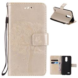 Embossing Butterfly Tree Leather Wallet Case for LG K10 2017 - Champagne