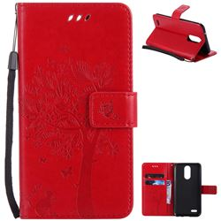 Embossing Butterfly Tree Leather Wallet Case for LG K10 2017 - Red