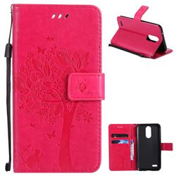 Embossing Butterfly Tree Leather Wallet Case for LG K10 2017 - Rose