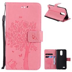 Embossing Butterfly Tree Leather Wallet Case for LG K10 2017 - Pink