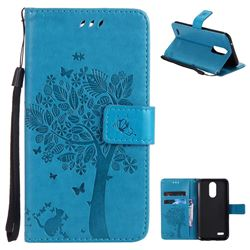 Embossing Butterfly Tree Leather Wallet Case for LG K10 2017 - Blue