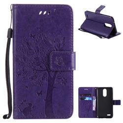 Embossing Butterfly Tree Leather Wallet Case for LG K10 2017 - Purple