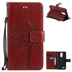 Embossing Butterfly Tree Leather Wallet Case for LG K10 2017 - Brown
