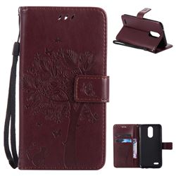 Embossing Butterfly Tree Leather Wallet Case for LG K10 2017 - Coffee
