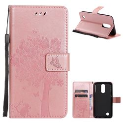Embossing Butterfly Tree Leather Wallet Case for LG K10 2017 - Rose Pink