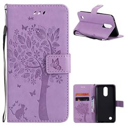 Embossing Butterfly Tree Leather Wallet Case for LG K10 2017 - Violet