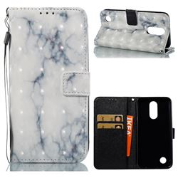 White Gray Marble 3D Painted Leather Wallet Case for LG K10 2017