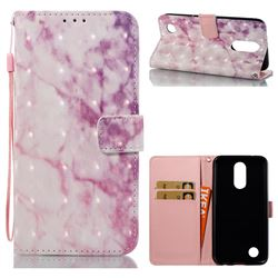 Pink Marble 3D Painted Leather Wallet Case for LG K10 2017