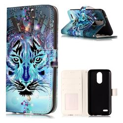 Ice Wolf 3D Relief Oil PU Leather Wallet Case for LG K10 2017