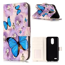 Purple Flowers Butterfly 3D Relief Oil PU Leather Wallet Case for LG K10 2017