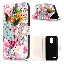 Flower Elephant 3D Relief Oil PU Leather Wallet Case for LG K10 2017
