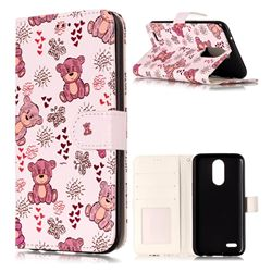 Cute Bear 3D Relief Oil PU Leather Wallet Case for LG K10 2017