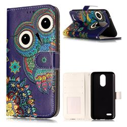 Folk Owl 3D Relief Oil PU Leather Wallet Case for LG K10 2017