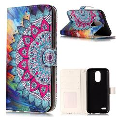 Mandala Flower 3D Relief Oil PU Leather Wallet Case for LG K10 2017