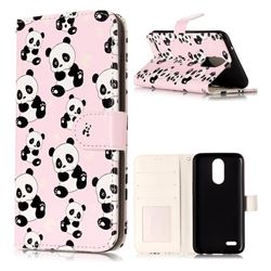 Cute Panda 3D Relief Oil PU Leather Wallet Case for LG K10 2017