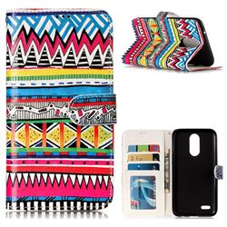 Tribal Pattern 3D Relief Oil PU Leather Wallet Case for LG K10 2017