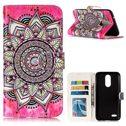 Rose Mandala 3D Relief Oil PU Leather Wallet Case for LG K10 2017