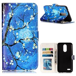 Plum Blossom 3D Relief Oil PU Leather Wallet Case for LG K10 2017