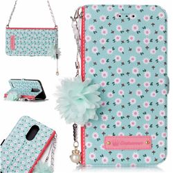 Daisy Endeavour Florid Pearl Flower Pendant Metal Strap PU Leather Wallet Case for LG K10 2017