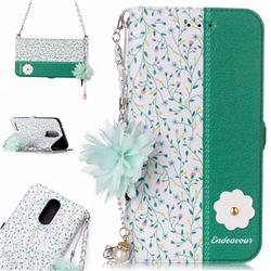 Magnolia Endeavour Florid Pearl Flower Pendant Metal Strap PU Leather Wallet Case for LG K10 2017