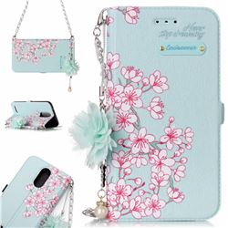 Cherry Blossoms Endeavour Florid Pearl Flower Pendant Metal Strap PU Leather Wallet Case for LG K10 2017