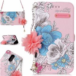 Pink Blue Rose Endeavour Florid Pearl Flower Pendant Metal Strap PU Leather Wallet Case for LG K10 2017