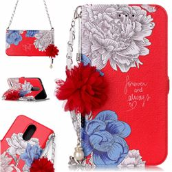 Red Chrysanthemum Endeavour Florid Pearl Flower Pendant Metal Strap PU Leather Wallet Case for LG K10 2017