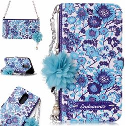 Blue-and-White Endeavour Florid Pearl Flower Pendant Metal Strap PU Leather Wallet Case for LG K10 2017