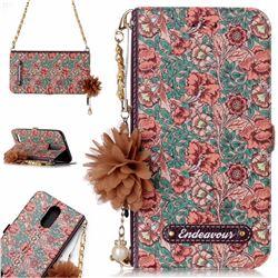 Impatiens Endeavour Florid Pearl Flower Pendant Metal Strap PU Leather Wallet Case for LG K10 2017