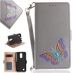 Imprint Embossing Butterfly Leather Wallet Case for LG K10 2017 - Grey