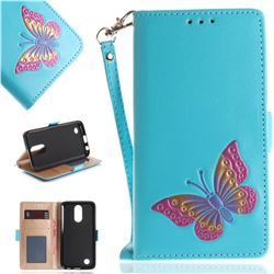 Imprint Embossing Butterfly Leather Wallet Case for LG K10 2017 - Sky Blue