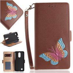 Imprint Embossing Butterfly Leather Wallet Case for LG K10 2017 - Brown