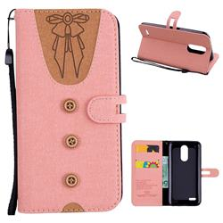 Ladies Bow Clothes Pattern Leather Wallet Phone Case for LG K10 2017 - Pink