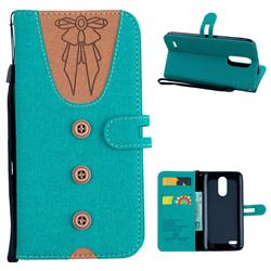 Ladies Bow Clothes Pattern Leather Wallet Phone Case for LG K10 2017 - Green