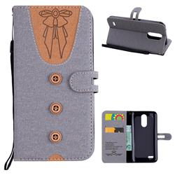 Ladies Bow Clothes Pattern Leather Wallet Phone Case for LG K10 2017 - Gray
