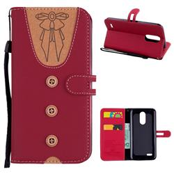 Ladies Bow Clothes Pattern Leather Wallet Phone Case for LG K10 2017 - Red