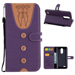 Ladies Bow Clothes Pattern Leather Wallet Phone Case for LG K10 2017 - Purple