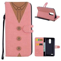 Mens Button Clothing Style Leather Wallet Phone Case for LG K10 2017 - Pink