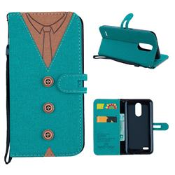 Mens Button Clothing Style Leather Wallet Phone Case for LG K10 2017 - Green