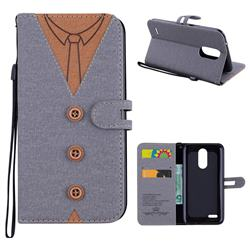 Mens Button Clothing Style Leather Wallet Phone Case for LG K10 2017 - Gray