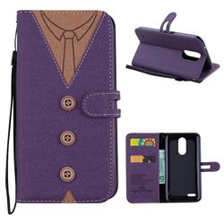 Mens Button Clothing Style Leather Wallet Phone Case for LG K10 2017 - Purple