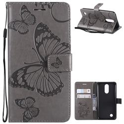Embossing 3D Butterfly Leather Wallet Case for LG K10 2017 - Gray