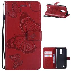 Embossing 3D Butterfly Leather Wallet Case for LG K10 2017 - Red