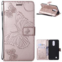 Embossing 3D Butterfly Leather Wallet Case for LG K10 2017 - Rose Gold