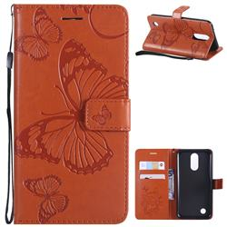 Embossing 3D Butterfly Leather Wallet Case for LG K10 2017 - Orange