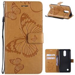 Embossing 3D Butterfly Leather Wallet Case for LG K10 2017 - Yellow