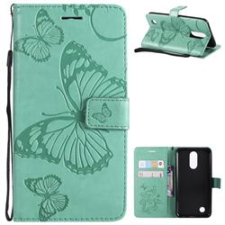 Embossing 3D Butterfly Leather Wallet Case for LG K10 2017 - Green