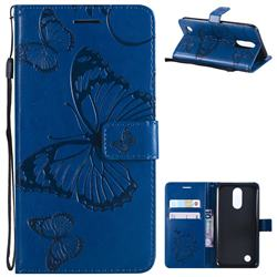 Embossing 3D Butterfly Leather Wallet Case for LG K10 2017 - Blue